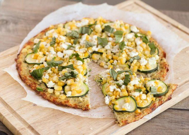 Cauliflower Crust Pizza with Corn, Zucchini, & Goat Cheese