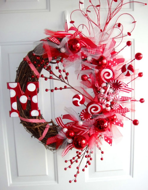 Peppermint Grapevine Wreath.
