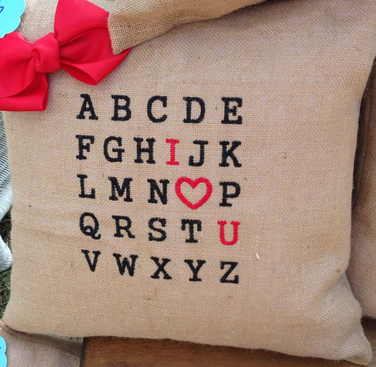 burlap pillows by