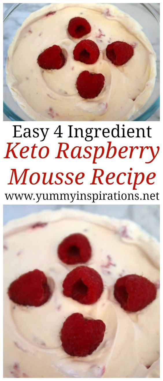Keto Raspberry Mousse Recipe - Easy Low Carb Dessert Ideas - a healthy, Ketogenic Diet friendly dessert recipes without gelatin and with cream and fresh raspberries. The perfect Keto Summer Dessert!