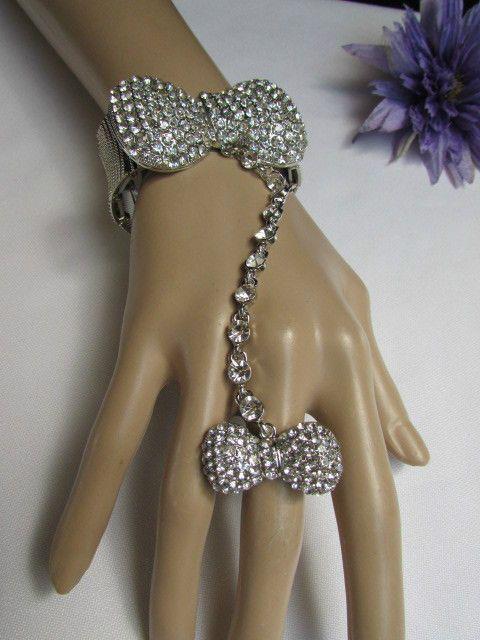 Women Bow Bracelet Silver Metal Hand Chain Clear Rhinestones Slave Long Ring