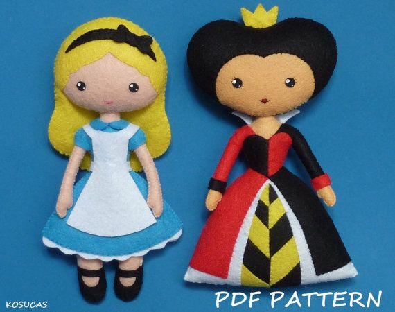 PDF sewing pattern to make a felt doll inspired in Alice and Heart Queen, 7.7 inches tall. It is not a finished dolls. Includes tutorial with pictures