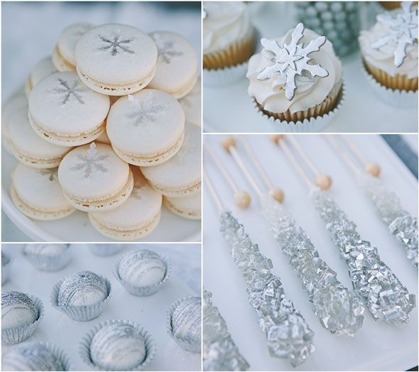 Silver dessert table / Snowflake macarons / Fondant cupcake toppers / Rock candy / Glitter cake balls