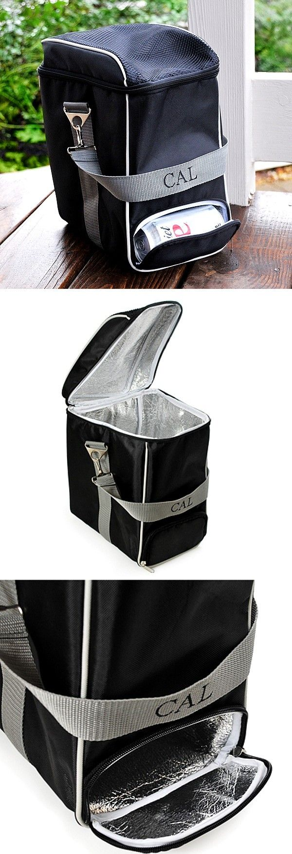 Light and collapsible, this insulated soft sided travel cooler personalized with a name or initials will hold up to twelve 12 ounce cans of beer or soda with ice and features a zippered opening at the bottom for dispensing a single can at a time without opening the top and letting all the cold out. A useful gift idea men and women alike will appreciate. This travel cooler can be ordered at http://myweddingreceptionideas.com/personalized-tailgate-can-dispenser-cooler.asp