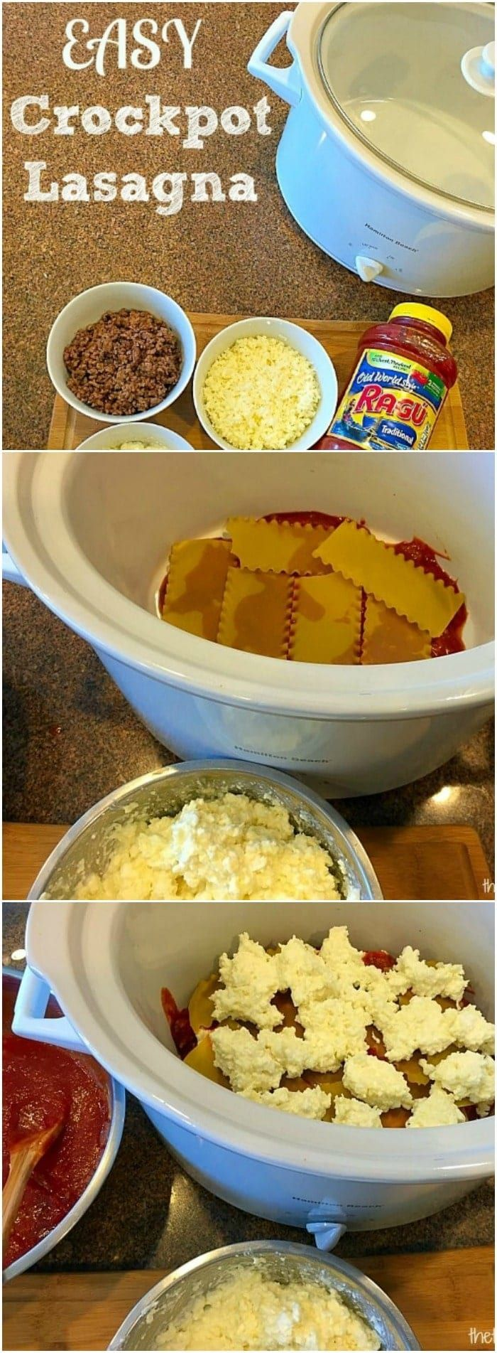 Easy crockpot lasagna recipe with no boiling required. Great pasta dinner your w…