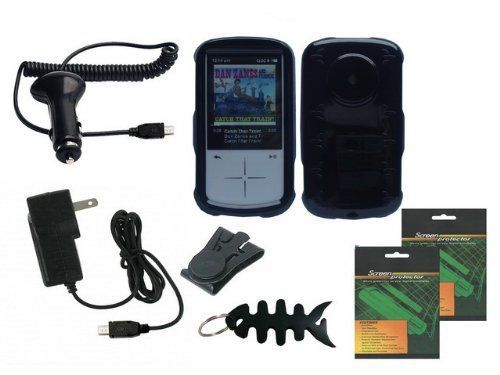 iShoppingdeals - Black Snap On Hard Shell Case Cover, Car Charger, Wall AC Charger, Beltclip, Screen Protecctor for Sandisk Sansa Fuze+ MP3 Player SDMX20R