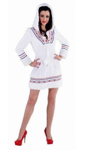 Eskimo kostuum voor dames  Eskimo jurkje voor dames met capuchon. Wit Eskimo kostuum voor dames bestaande uit een wit jurkje met borduursel en een grote capuchon met pluche rand.  EUR 47.95  Meer informatie