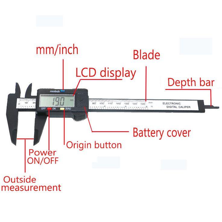 QSTEXPRESS Nueva Llegada 150mm 6 pulgadas LCD Digital Electronic Vernier Caliper Micrómetro Herramienta de Medición De Fibra De Carbono