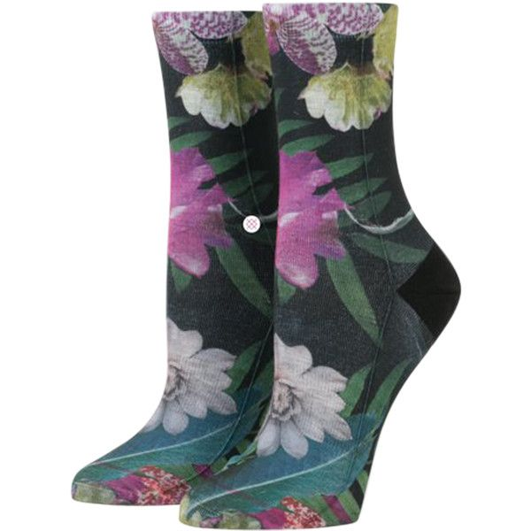 Stance Tropic Fever Tomboy Sock ($14) ❤ liked on Polyvore featuring intimates, hosiery, socks, black, crew socks, stance socks, embroidered socks, crew length socks and floral socks