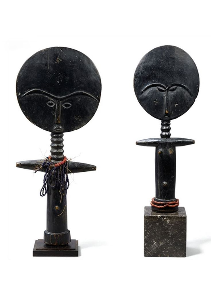 Africa | Dolls from the Ashanti people of Ghana | Dark wood, glass beads, fiber