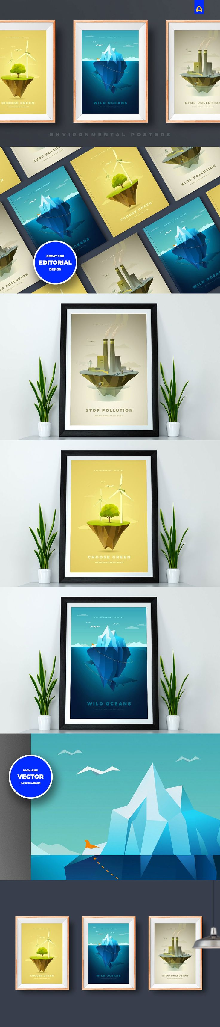 #Freebies : Set of 3 environmental #posters with well-crafted low-poly #vector #illustrations could be used as #wallpapers, #citylights or for editorial design. With these illustrations you can cover environmental topics such as: global warming, green energy, #iceberg melting, toxic waste, air or water pollution and much more. ( #polygon #nature #printable )