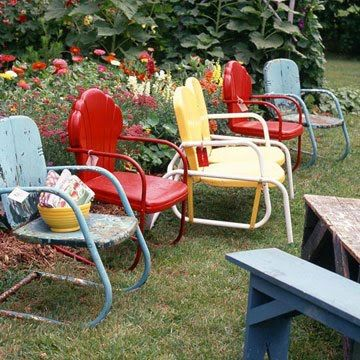 My grandmother had these shell backed metal chairs in the shady part of her backyard. I'd bounce a little in the chair for fun after helping hang the laundry to dry in the sun. Then we'd wave to the train engineers rolling past along the tracks just past the back road.