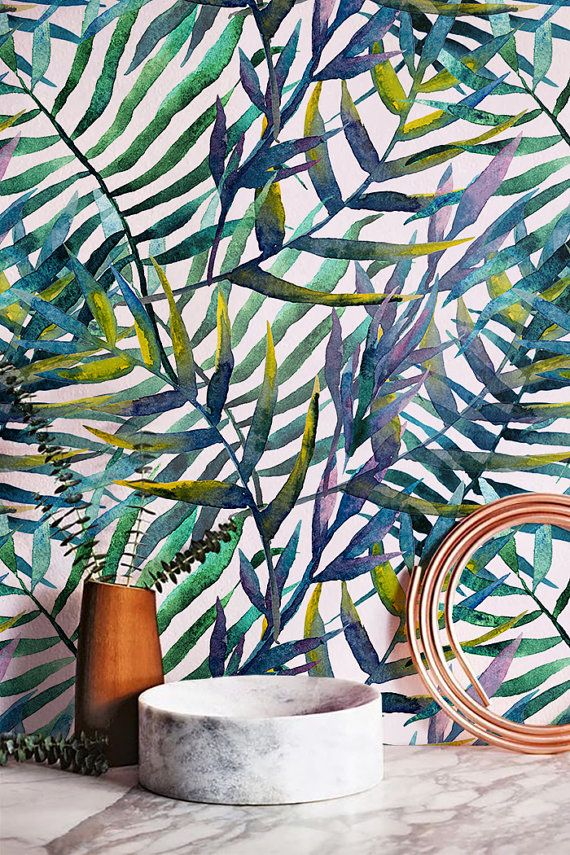 30% korting van tropische aquarel laat patroon door WallfloraShop