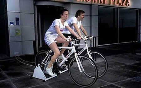 The Crown Plaza Hotel in Copenhagen , Denmark , is offering a free meal to any guest who is able to produce electricity for the hotel on an exercise bike attached to a generator. Guests will have to produce at least 10 watt hours of electricity - roughly 15 minutes of cycling for someone of average fitness. They will then be given meal vouchers worth $36 (26 euros).