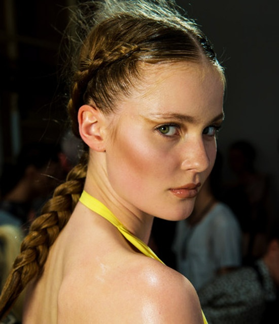Double front braids in to Single Back Braid Hair StyleTrend for Spring Summer 2013. Maria Grachvogel Spring Summer 2013. #hair #trends