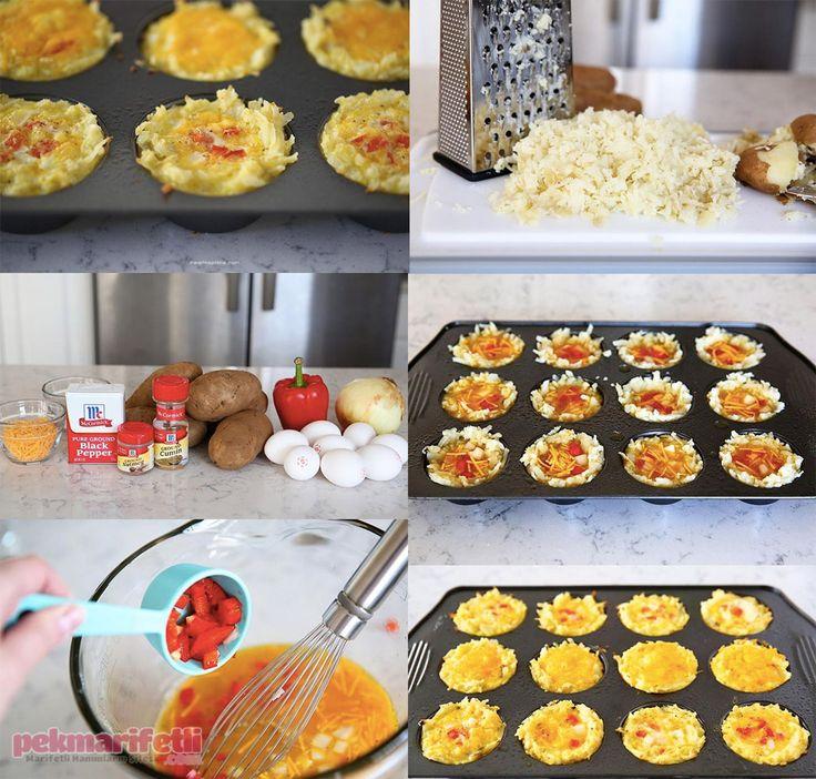 Malzemeler Yumurta Kırmızı biber 3 yemek kaşığı krema Patates Soğan Kaşar peyniri Baharatlar Yapılışı: Yumurta, biber, soğan, krema ve rendelenmiş kaşarı.. Kek kalıbında minik kahvaltılık yapımı..