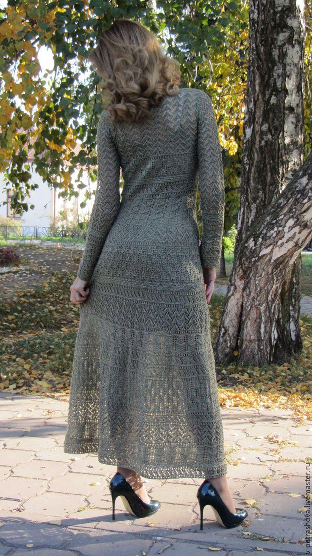 Купить Платье вязаное Оливия - оливковый, ажурное платье, длинное платье, вечернее платье, лен