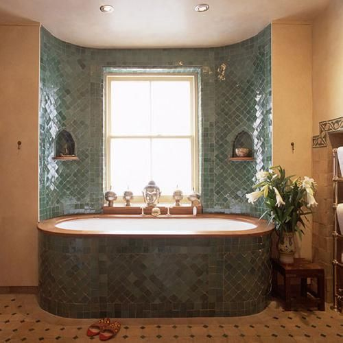 You could inset a bath like this into the straw bales of a strawbale house could look - Moroccon bathroom ...