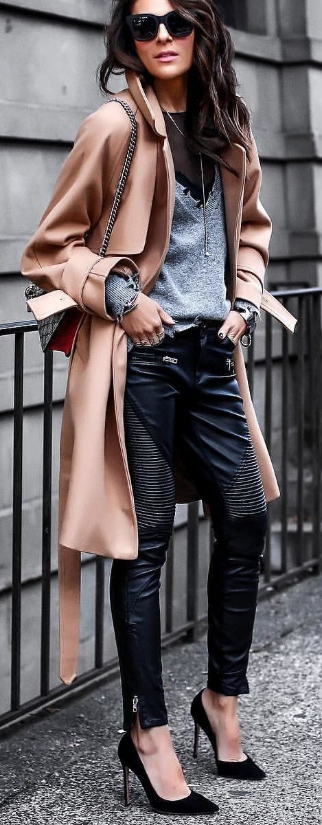 #winter #outfits brown leather coat and black pants