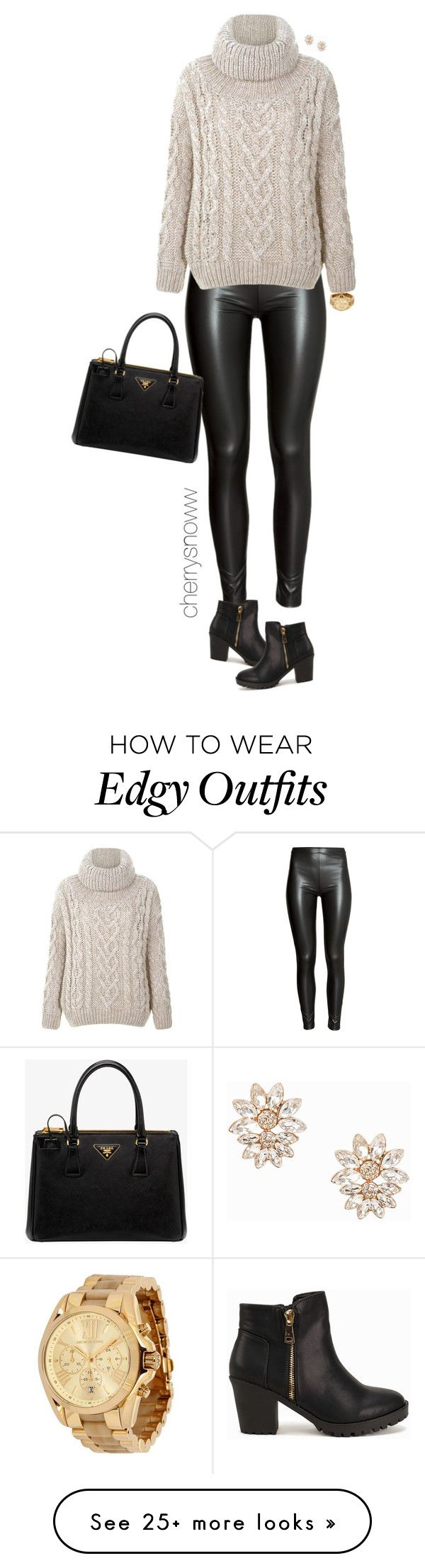 """Casual edgy chic fall outfit"" by cherrysnoww on Polyvore featuring H&M, Prada, Michael Kors and NLY Accessories"