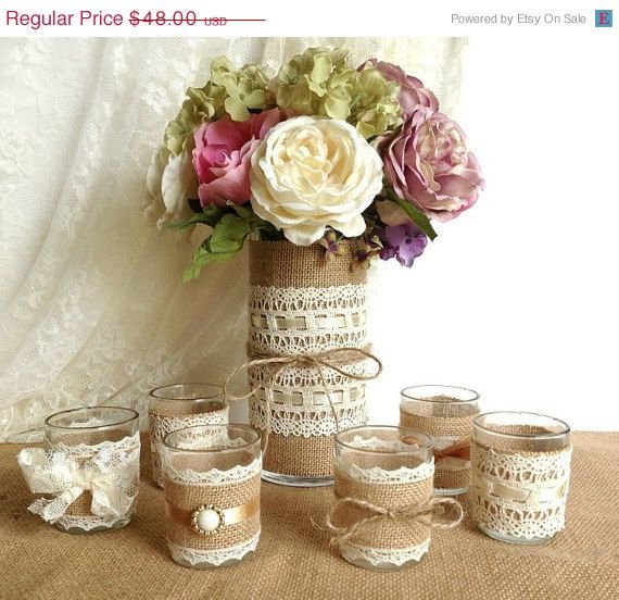 ON SALE burlap and lace 10 hour tea candles and vase country chic wedding decorations, bridal shower decor, home decor