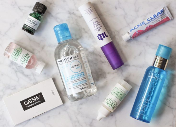 Acne Products - The Body Shop Tea Tree Oil, Mario Badescu Drying Lotion, Acne Clear Pimple Cream, Mario Badescu Buffering Lotion, Bioderma Micellar Water, Laneige Water Bank Mist, Gatsby Powdered Oil Blotting Sheets, Urban Decay All Nighter Makeup Setting Spray