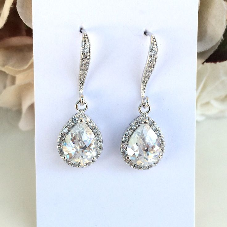 Teardrop cubic zirconia bridal earrings by Colour and Sparkle, bridal accessories, bridal jewellery, wedding