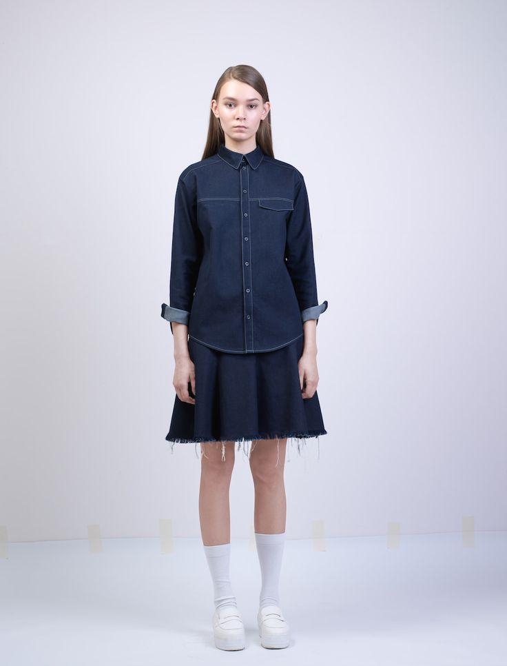 Купить рубашку женскую джинсовую SHLZ Rag Cold W. Цвет темно-синий. Размеры S, M, L. Рваная рубашка.