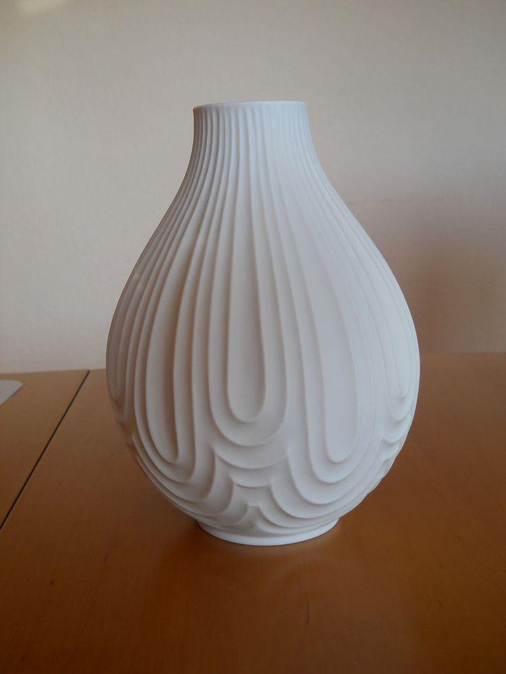 Vase Heinrich Porzellan Selb weiß matt Relief Bisquit