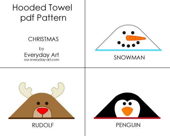 Hooded Towel Pattern  Penguin Snowman Rudolf by oureverydayart