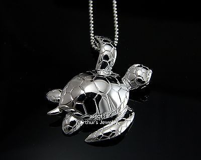 Click Here. Double your traffic. Get Vendio Gallery - Now FREE! Brand new solid 925 sterling silver high polish shiny 3D Hawaiian sea turtle slider pendant Description : - Turtle size: 29mm (approx. 1