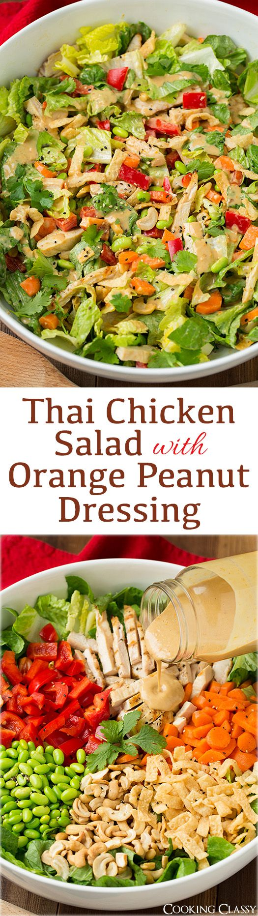 Thai Chicken Salad with Orange Peanut Dressing. Romaine, grilled chicken, edamame, red bell, carrots, cashews, cilantro and wonton strips with an amazing peanut dressing!