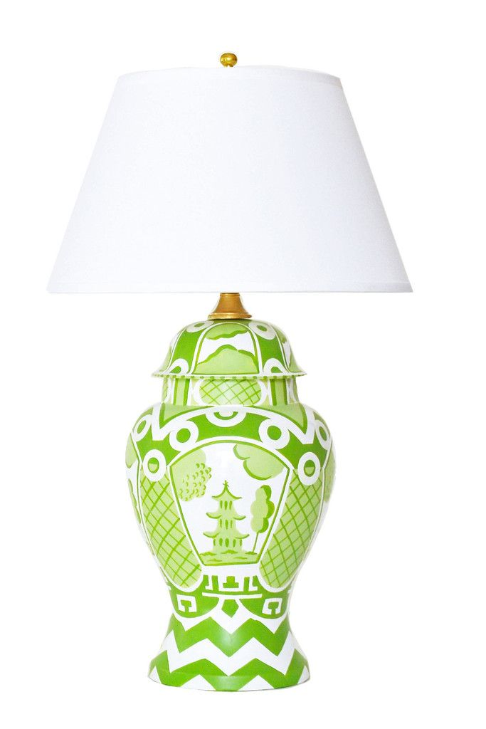 Summer Palace Ginger Jar Lamp in Green