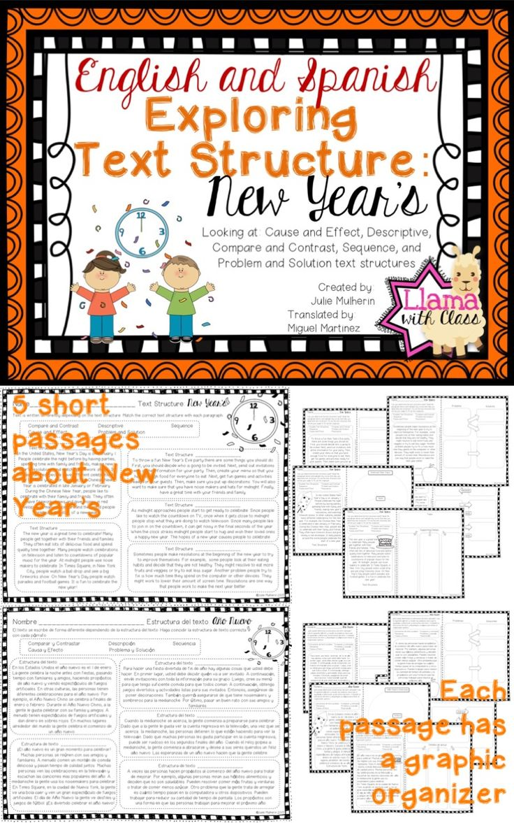 New Year's Text Structure Worksheets in English and
