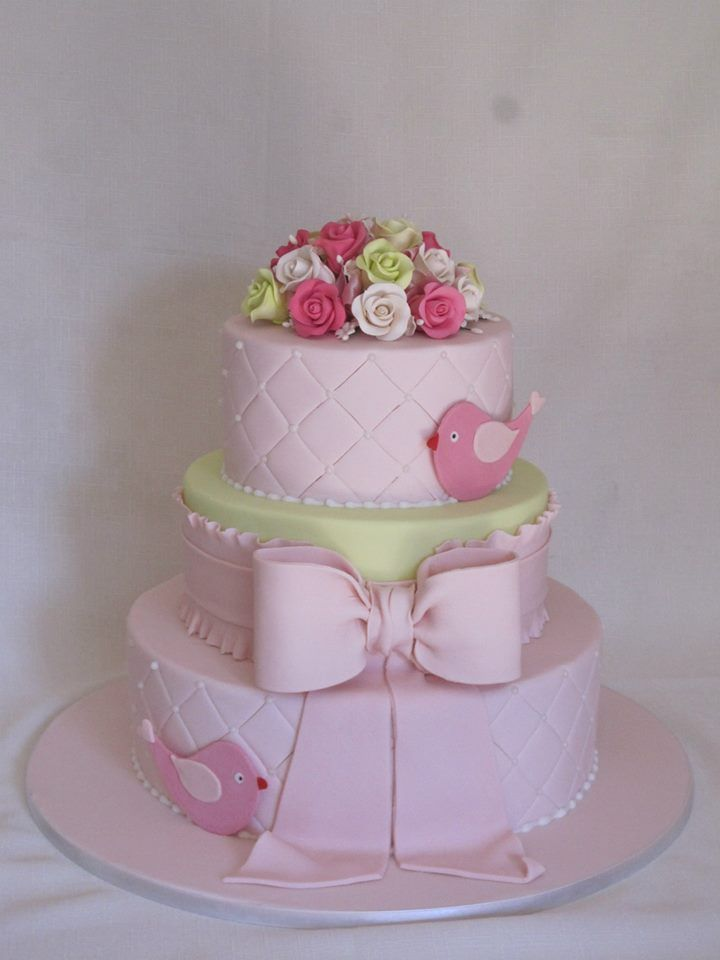 Pink and Lime green 3 tier Christening cake