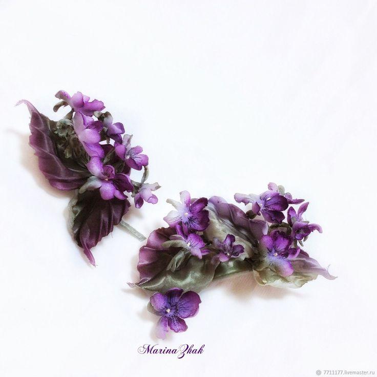 «Фиалок нежное цветение» - комплект аксессуаров из шелка и бархата – купить в интернет-магазине на Ярмарке Мастеров с доставкой