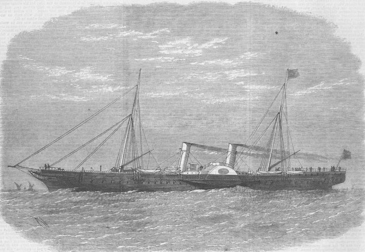 SHIPS. Viceroy of Egypt's new state yacht 'Mahrusseh', antique print, 1856