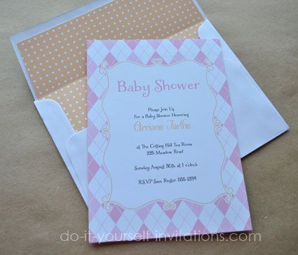 136 best diy baby shower invitations images on pinterest diy baby pink argyle baby shower invitation and envelope liner also available in blue filmwisefo