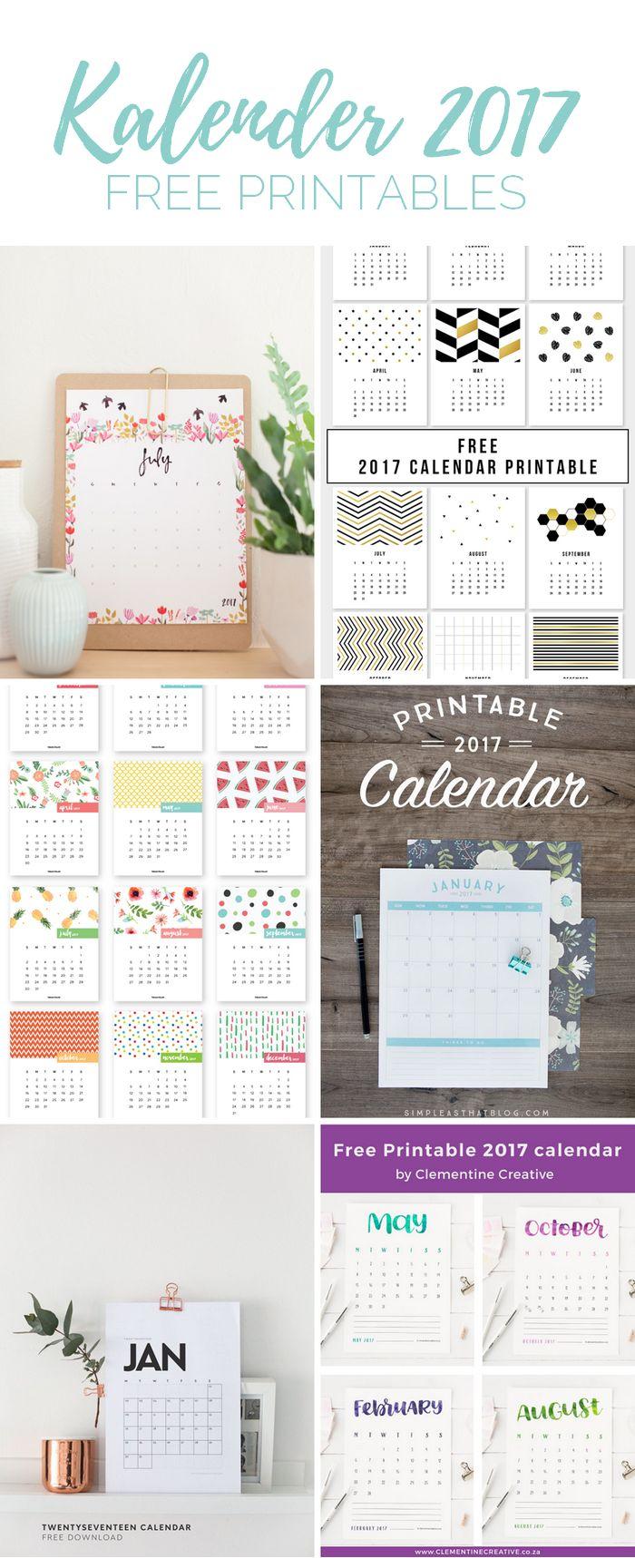 Die schönsten Kalender für 2017 zum Ausdrucken. Free Printable Kalender von minimalistisch bis verspielt für das Jahr 2017.