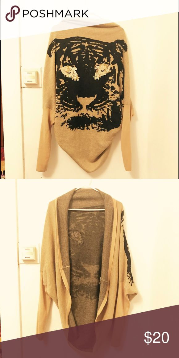 Gold sequins cardigan Tan cardigan. Gold and black sequins tiger head detail Sweaters Cardigans