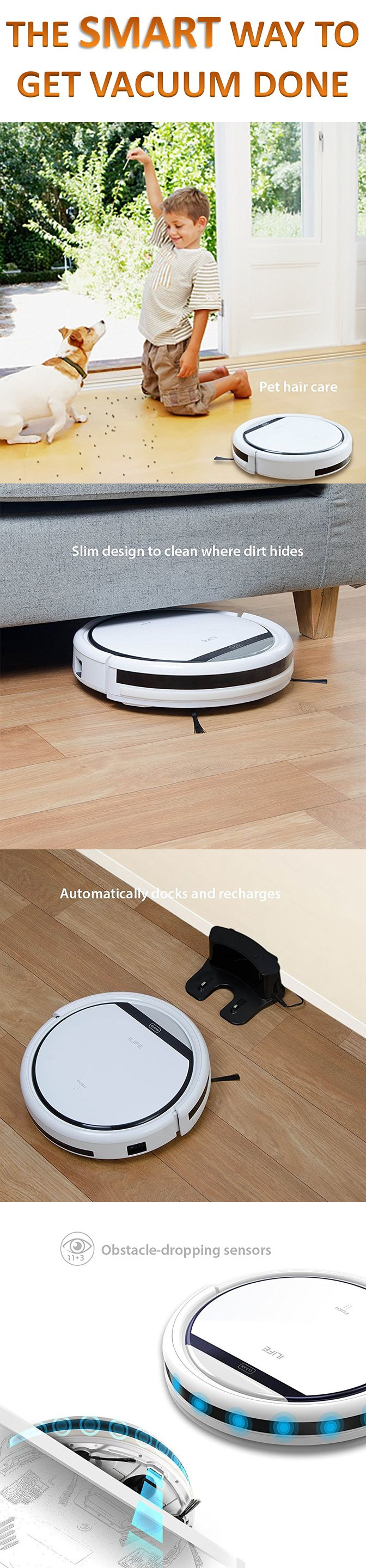 ILIFE V3s Robotic Vacuum Cleaner for Pets and Allergies