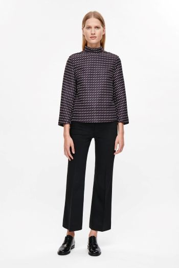 COS image 1 of Jacquard boxy top in Navy