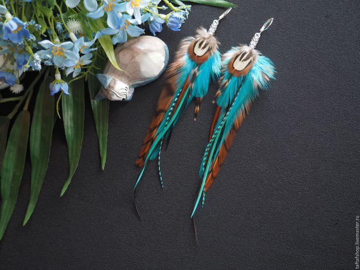 Небо Египта - бирюзовые серьги с натуральными перьями в стиле бохо - серьги с перьями