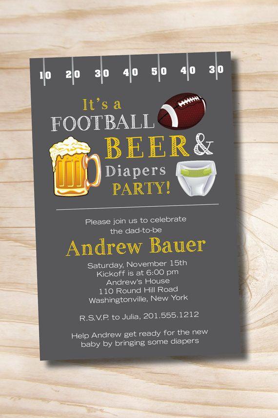 Beer and Babies Invitation | FOOTBALL BEER & Diapers bbq, beer and babies Diaper Party Invitation ...