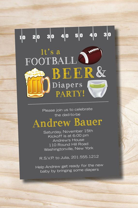 baby shower invitation wording for bringing diapers%0A Beer and Babies Invitation   FOOTBALL BEER  u     Diapers bbq  beer and babies  Diaper Party