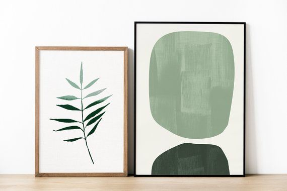 Green Leaf Prints Dark Green Botanical Art Prints Minimal Leaf Art Modern Botanical Print Light Gree Geometric Art Prints Abstract Geometric Art Art Prints