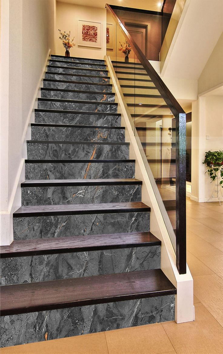 Textured Wallpaper for stair risers. Also check out their