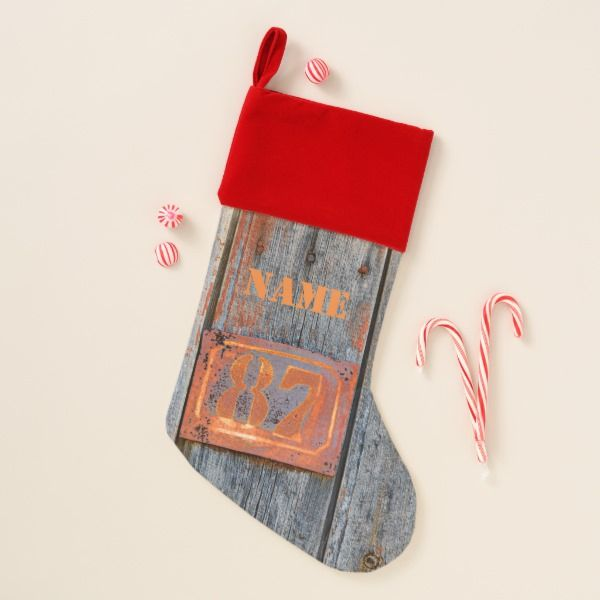 Old Grunge Rusty Metal House Number 87 Photo  Name Christmas Stocking #stocking #christmas #sock #xmas