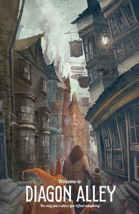 Harry Potter affiche Diagon Alley Travel par TheGreenDragonInn