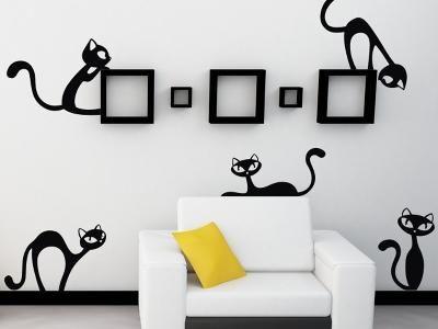 Samolepka na stěnu Wallvinil  Velké nezbedné kočky, černá